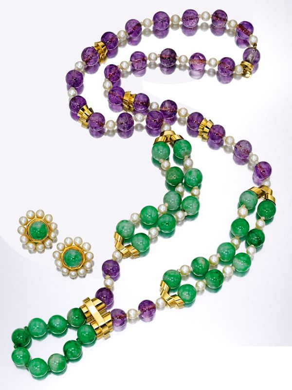 Jade, amethyst and pearl necklace and earclips, David Webb. Estimate: $20,000–30,000. To be offered in Sotheby's New York Magnificent Jewels sale on 19 April.