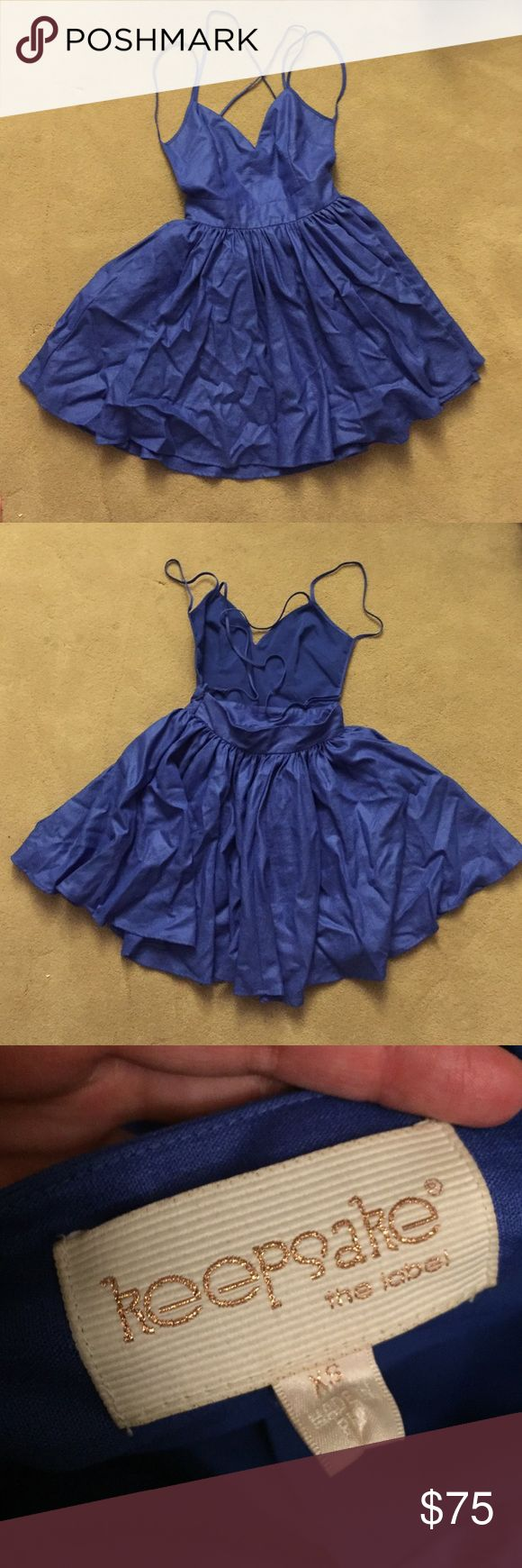 Keepsake Perfect Stranger Dress Royal blue teapot backless dress. Has a skater like fit and is triple lined (top layer, tulle, then an inner layer). Perfect dress for a wedding or formal dances. Purchased on Nasty Gal website. Nasty Gal Dresses Backless