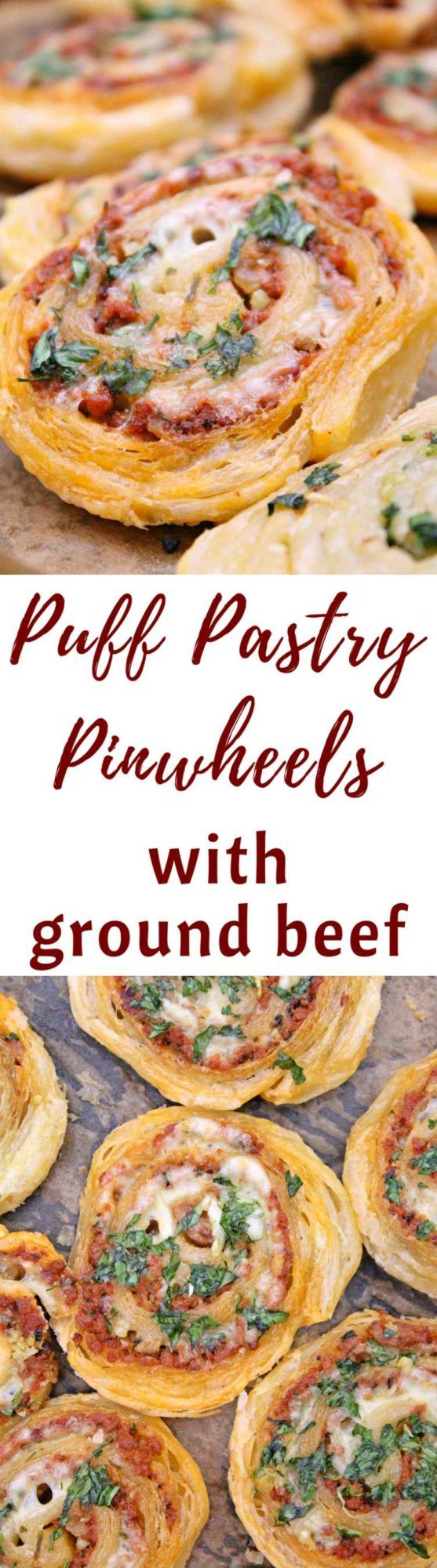MEAT PINWHEELS WITH GROUND BEEF - Great as finger food for parties, a yummy snack or a meal on the run, these meat pinwheels are super easy to make and insanely delicious!  #meat #beef #appetizer #pinwheel #delicious #recipe #recipes #puffpastry #pastry