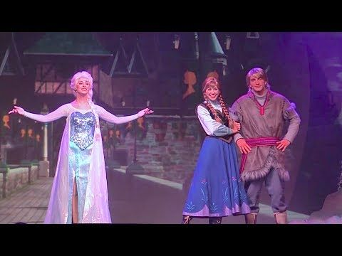 Frozen Summer Fun Live stage show with Anna, Elsa, Kristoff at Walt Disney....... Two people narrate the story, showing some clips of the movie. They cut out all the singing parts (which would probably get annoying) but the rest of it is pretty cute.