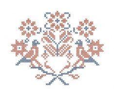 Výšivka Liptovské Sliače, rozmer 12x10 cm, červeno-modrá