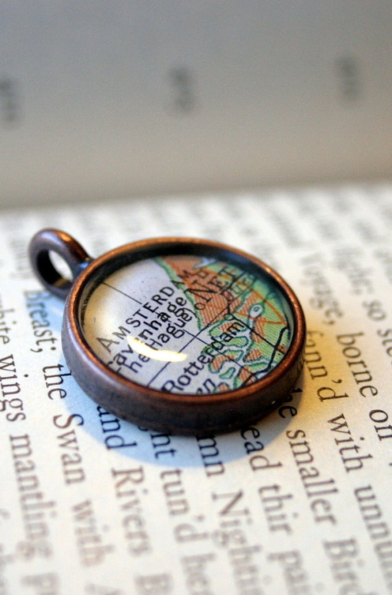 """""""I've been on ETSY since 2008 and I make Map Pendants like these. I use only original maps or atlases and cut each one myself as well as hand pouring the liquid resin. (No Photoshopping, no jewelry """"kits"""" etc.)"""" - Julie"""