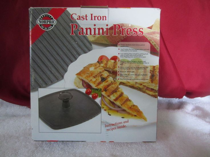 "NORPRO Cast Iron Panini Grill Press 8.75 X 8.25"" Square with Handle~NIB  #NORPROQUALITYCOOKWARE"