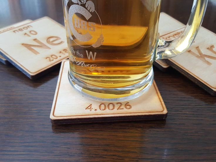 Noble Gases Coasters - Wooden Engraved - Set of Six - USA Made, Unique Science Gift by RockPaperLaser on Etsy