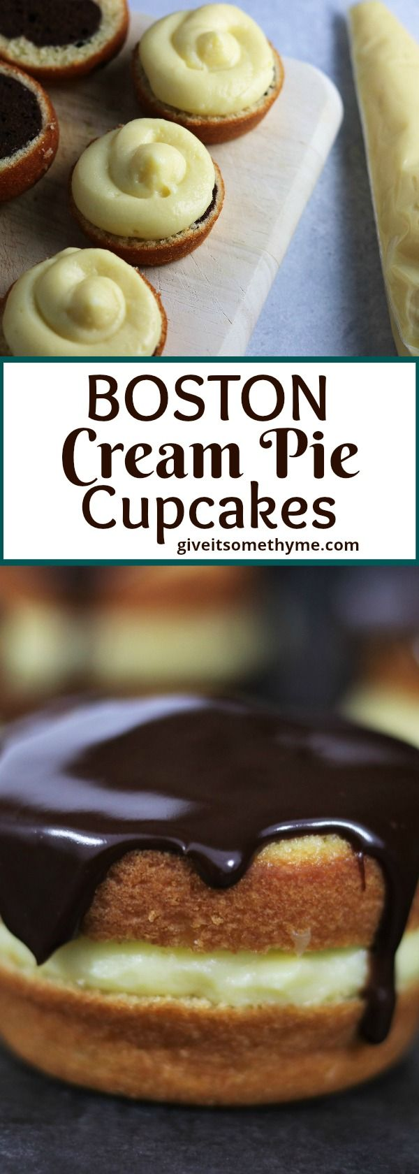 Boston Cream Pie Cupcakes | Give it Some Thyme