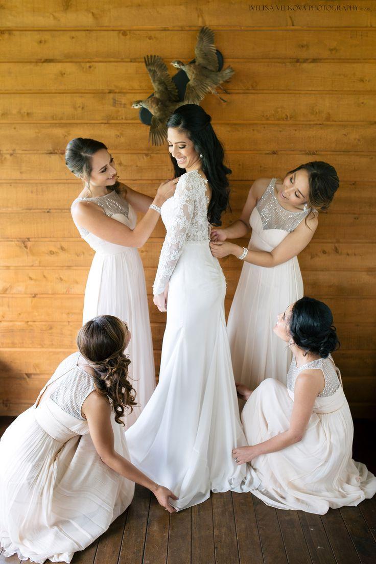 Stunning bridal gown, bridesmaids dresses for this elegant Bracu wedding.  http://ivelinavelkova.com/