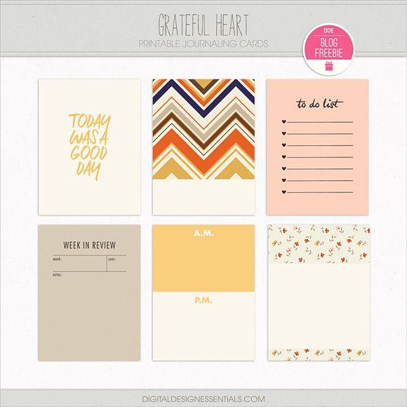 Quality DigiScrap Freebies: Grateful Heart journal cards freebie from Digital Design Essentials