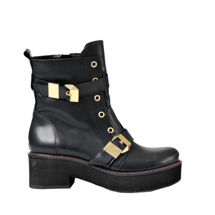 Brandit Pat Studded - Botas de cuero sintético para mujer, color negro, talla 38