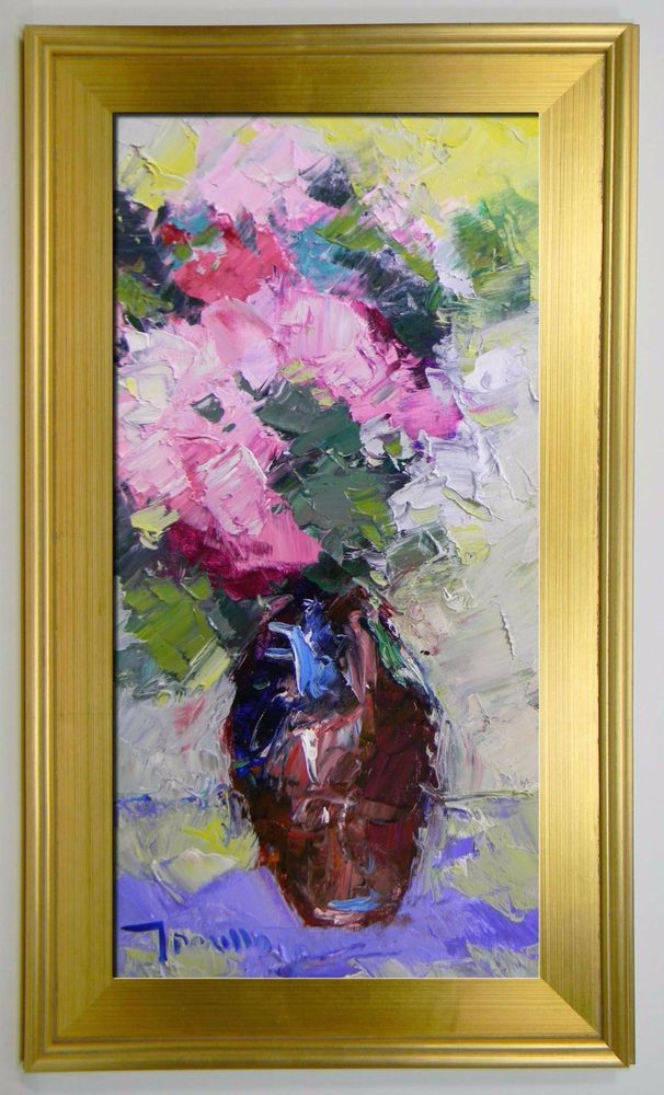 24 Quot Large Framed Jose Trujillo Impressionist Plein Air Painting Flowers Vase Coa Impressionism