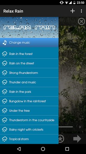 Relax Rain ~ Rain Sounds Premium v4.9.1 	Requirements: 2.3 and up 	Overview: The largest collection of relaxing rain for Android. Over 35 rain sounds (free and HD) mixable with thunders and music in order to reach a state of complete relaxation.   	  	 	The largest collection of relaxing rain...