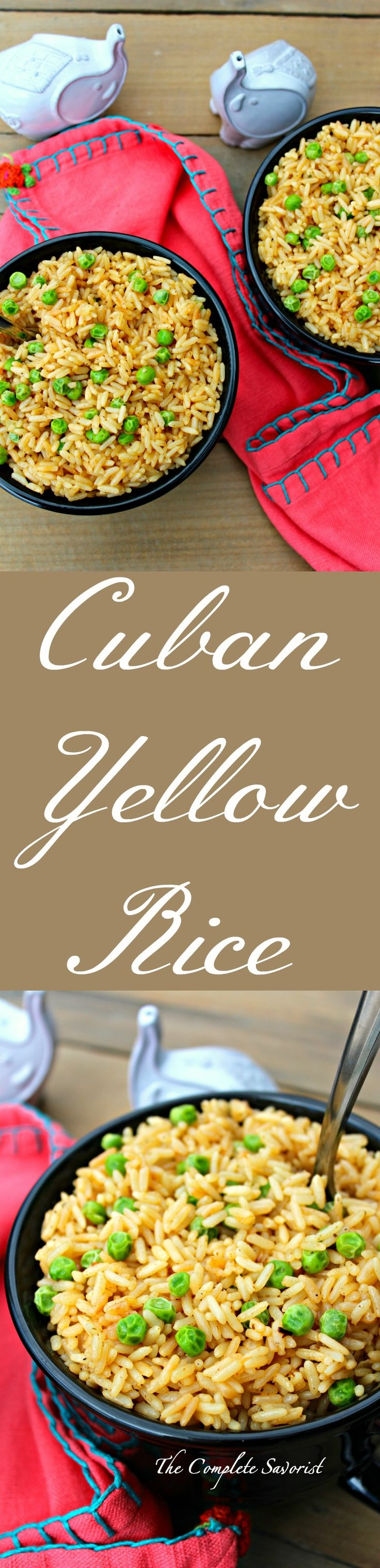 Cuban Yellow Rice ~ Cuban style rice with sautéed onions, herbs, spices including saffron, and fluffed with peas ~ The Complete Savorist