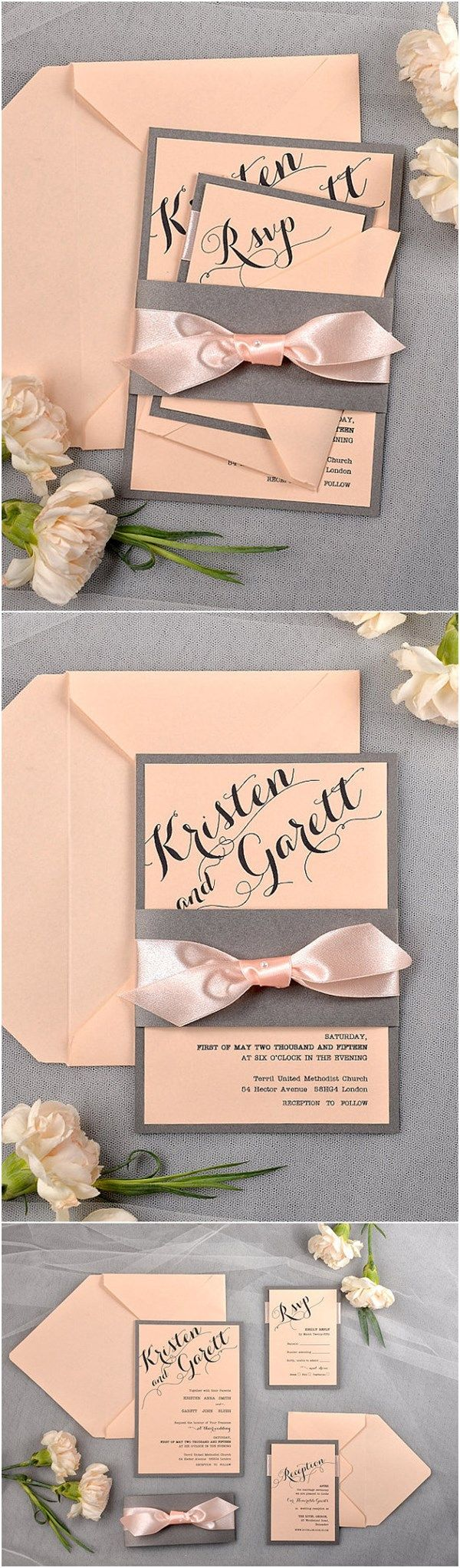 Calligraphy Vintage Grey and Peach Wedding Invitation Ideas - Deer Pearl Flowers