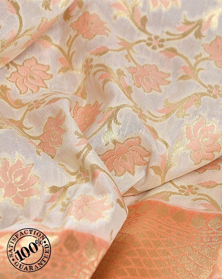 Sarees by Womeca - Cream Katan Silk Indian Bridal Saree Online