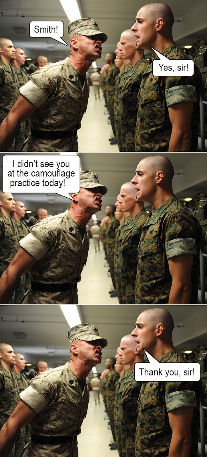 WHY couldn't I come up with funny stuff like this as my drill sergeant was screaming in my face! lol