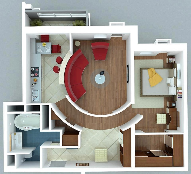 Superior Apartments : Interesting Apartment With Curved Walls For Floor Plans For  Small Houses Design Ideas Picture   A Part Of Fascinating 1 Bedroom  Apartment/House ...