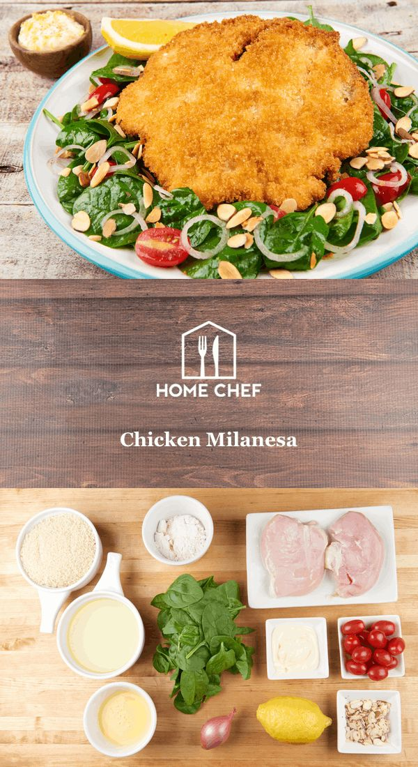 Crispy, crunchy, savory chicken rests atop a refreshing salad made with baby spinach and grape tomatoes- what's not to like? We'll teach you how to properly bread and shallow fry chicken- a skill that will certainly pay dividends in the future.