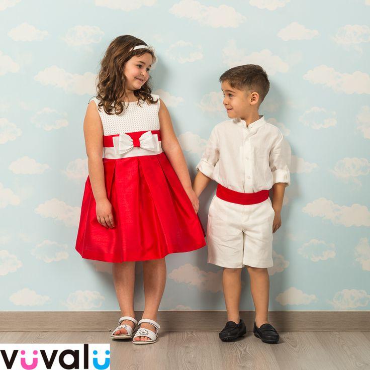 #Vestidos para arras. Ella, #vestido Amaya bicolor. El niño, #conjunto de lino también de Amaya