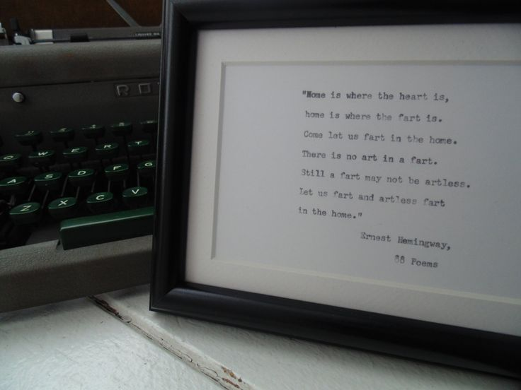 Framed quote from Ernest Hemingway's 88 Poems by UnclassyClassics on Etsy