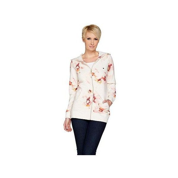 Isaac Mizrahi Live! SOHO Zip Up Floral Printed Hoodie (455 DKK) ❤ liked on Polyvore featuring tops, hoodies, zip up hoodies, floral print hoodie, zip front hoodies, white zip up hoodie and white zip up hoodies