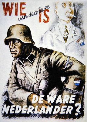 Fine Art Print of German SS in WW2 recruitment poster for the Dutch 'Legion Niederlande' by German School
