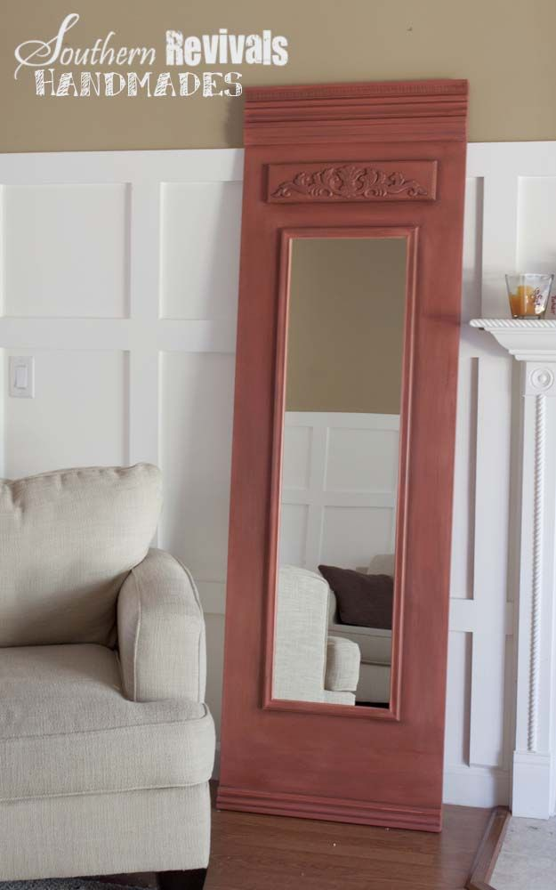 this is totally doable. a little lumber and molding, a cheap floor length mirror and some paint. check.
