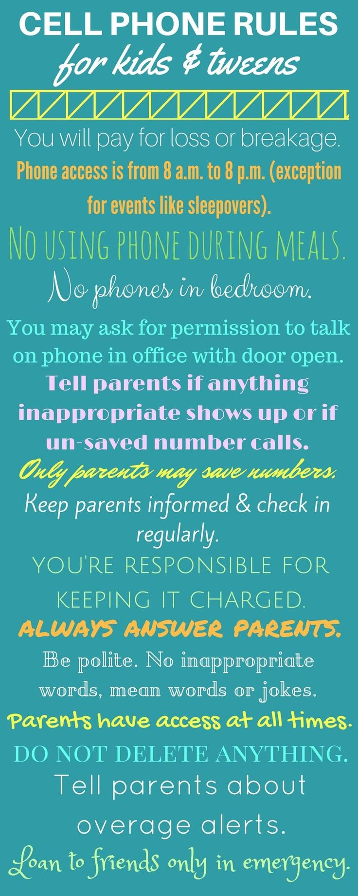 Safe cell phone rules for kids, tweens, and teens. ^-^ Parents: Watch This FREE Video Lesson https://parenting2018.blogspot.com/