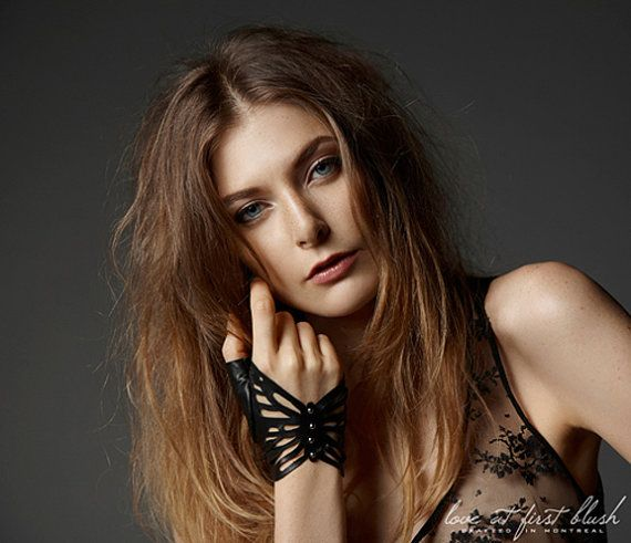 Studded Leather Butterfly Fingerless Glove.  Nine Lives Collection. For Holly-Mae.