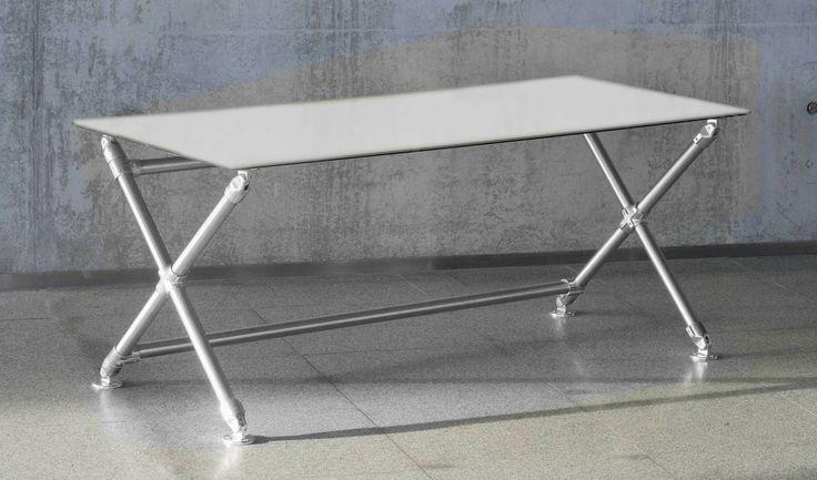 Bureau X verre blanc pure white Blanc - Wooh Store : Bureau et mobilier de bureau