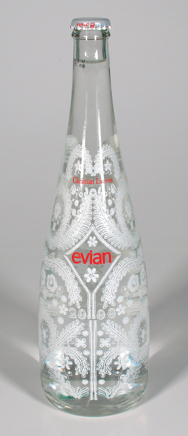 evian; designed by christian lacroix...ineteresting lace design covering bottle