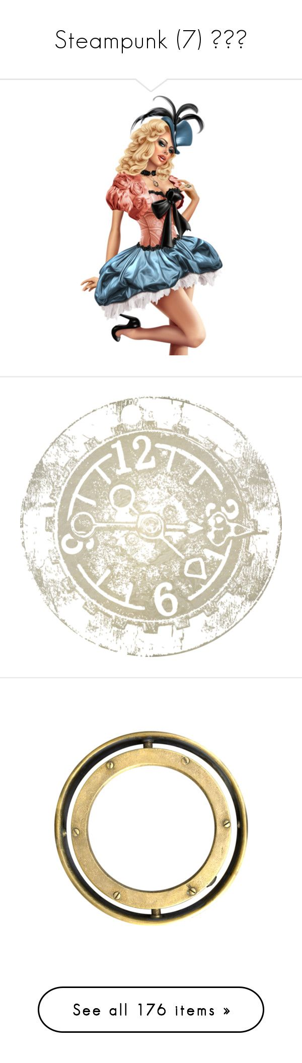 """""""Steampunk (7) ⚙️🛤"""" by poshtrish ❤ liked on Polyvore featuring clock, backgrounds, circle, effects, time, circular, round, borders, picture frame and frames"""