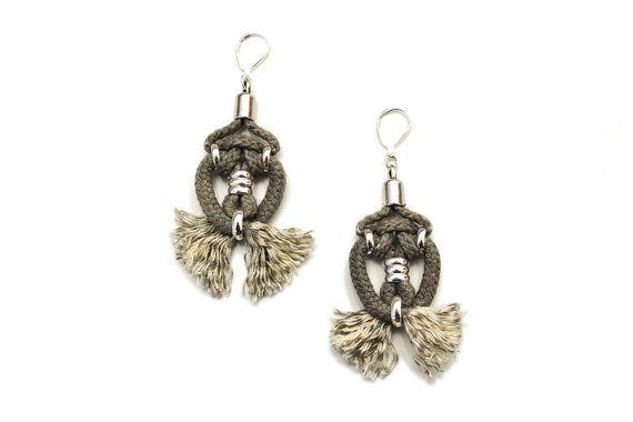 Tribal Rope Earrings Fiber Art Earrings Drop Earrings от gudbling