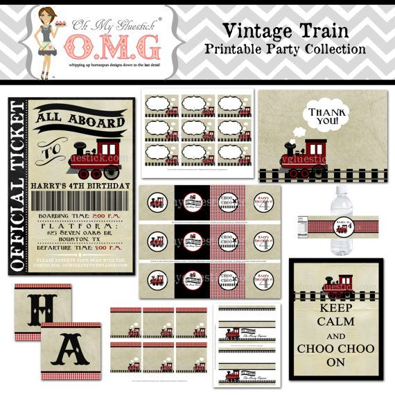 vintage train party | Items similar to Vintage Train Party Collection Package by Oh My ...