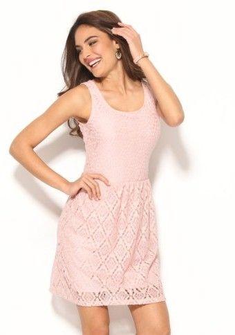 Čipkované šaty bez rukávov #ModinoSK #pink #pastel #dress #lace