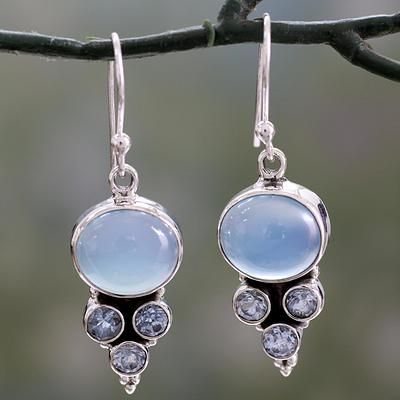 Light Blue Gemstone Earrings in Sterling Silver Settings - Bubbling Stream | NOVICA