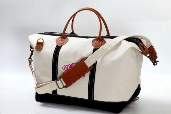 Black Trim Monogram Canvas Carry On Weekend Duffle Bag Bridesmaids Bridal Honeymoon Gift