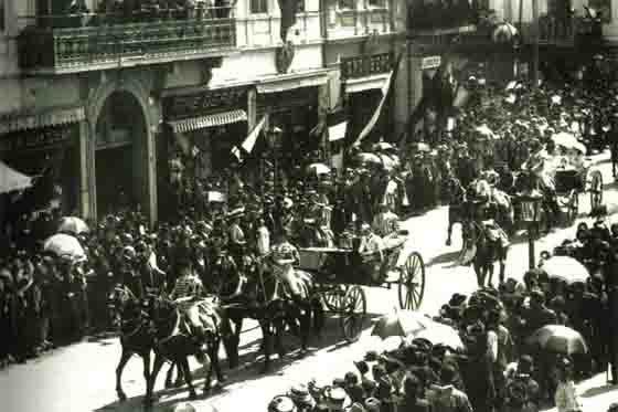 Bucuresti , Cortegiul Regal pe Calea Victoriei , 1900