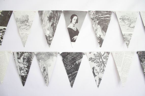Bookish Bunting --insp for photo bunting. cut bunting out of photocopied pic on cardstock?