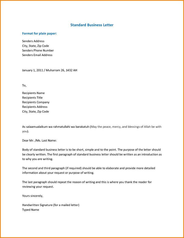 standard business letter format standard business cover letter standard resume format
