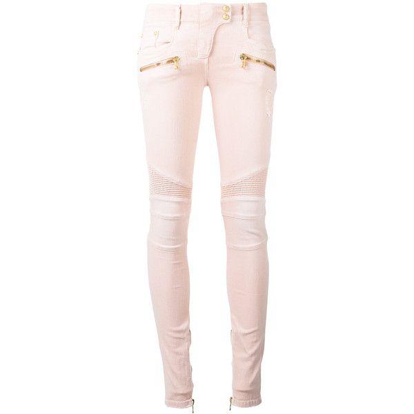 Balmain Skinny Biker Jeans ($1,325) ❤ liked on Polyvore featuring jeans, pants, bottoms, balmain, calças, purple, zipper skinny jeans, biker jeans, pink jeans and purple jeans