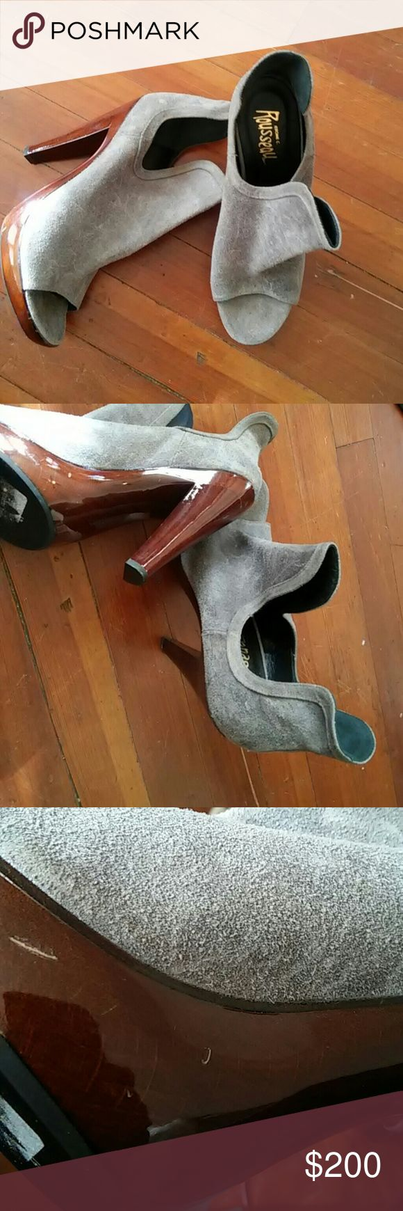 Jerome C Rouseau Italian shoe Vintage smoke grey cut out shoe with wooden heels. Shoe has never been worn but does have a few slight nicks on the heel. The box is not included. Shoes Heels