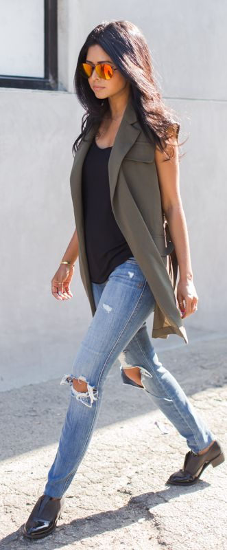 Khaki Sleeveless Blazer paired with a black vest, ripped jeans, brogues & mirrored sunglasses by Walk In Wonderland - if it's warm out swap your brogues for a pair of sandals (gladiator or minimalist style) #casualchic...x