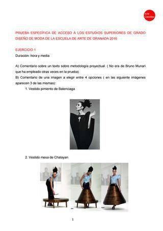 Modelo De Examen Estudios Superiores De Diseño De Moda De Granada Arte Casellas Clases Preparación Modelo De Examen Modelo De Examen Examen Disenos De Unas