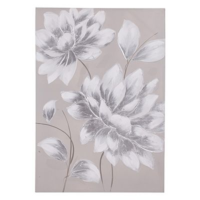 Shimmering White Dahlia H/Painted Canvas