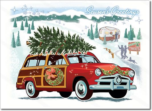 vintage woodie car christmas card features a vintage woodie wagon classic car visiting a snowy. Black Bedroom Furniture Sets. Home Design Ideas