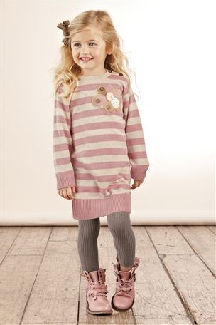 Winter Outfit for Little Girls : Pink Stripe Sweater, Gray Leggins, Pink Boots.
