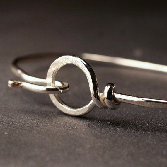 Sterling silver hammered bangle hook and loop by hartleystudio