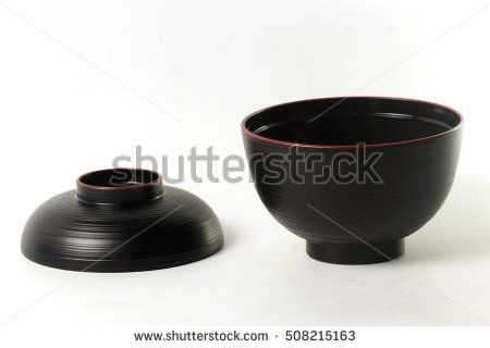 Traditional soup bowl Japanese style on white background