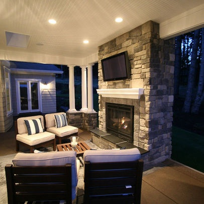 Covered Porch With Fireplace Design, Pictures, Remodel, Decor and Ideas