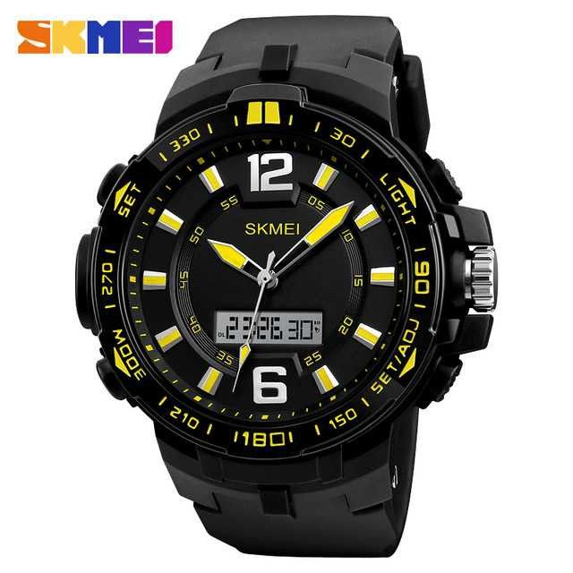 Jam Tangan Pria SKMEI Dual Time Casio Men Sport LED Original AD1273 Kuning