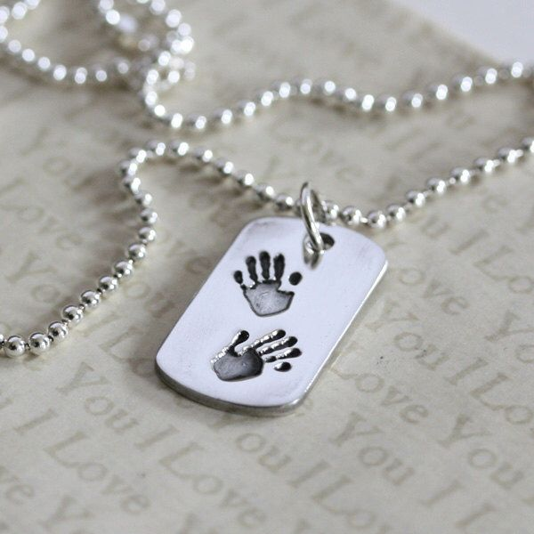Silver handprint dog tag, Personalised dog tag, Gifts for men https://www.etsy.com/listing/269960821/handprint-dog-tag-hand-print-dogtag